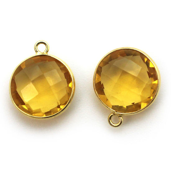 Wholesale Gold plated Sterling Silver Round Bezel Citrine Quartz Gemstone Pendant, Wholesale Gemstone Pendants for Jewelry Making