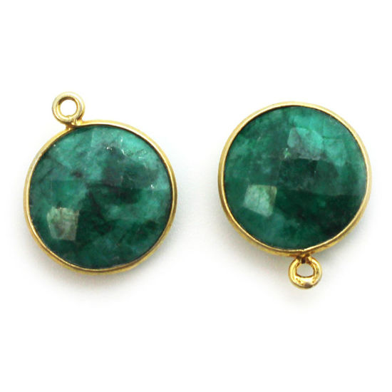 Wholesale Gold plated Sterling Silver Round Bezel Dyed Emerald Gemstone Pendant, Wholesale Gemstone Pendants for Jewelry Making