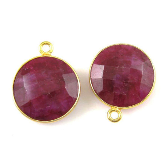 Wholesale Gold plated Sterling Silver Round Bezel Dyed Ruby Gemstone Pendant, Wholesale Gemstone Pendants for Jewelry Making