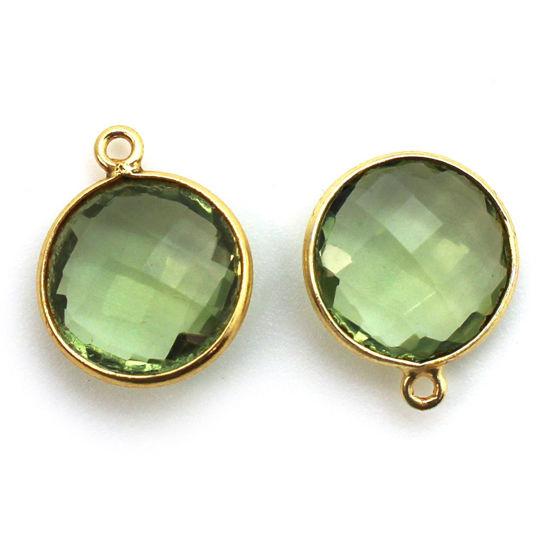 Wholesale Gold plated Sterling Silver Round Bezel Green Amethyst Quartz Gemstone Pendant, Wholesale Gemstone Pendants for Jewelry Making