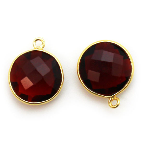 Wholesale Gold plated Sterling Silver Round Bezel Garnet Quartz Gemstone Pendant, Wholesale Gemstone Pendants for Jewelry Making