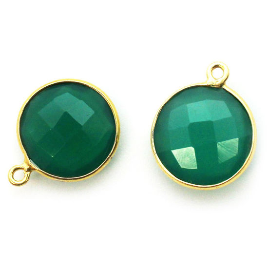 Gemstone Links Faceted Coin Shape Green Onyx Vermeil Sold Per 2 Pcs