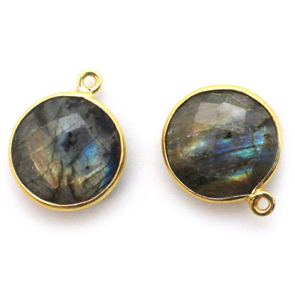 Wholesale Gold plated Sterling Silver Round Bezel Labradorite Gemstone Pendant, Wholesale Gemstone Pendants for Jewelry Making