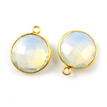 Wholesale Gold plated Sterling Silver Round Bezel Opalite Quartz Gemstone Pendant, Wholesale Gemstone Pendants for Jewelry Making