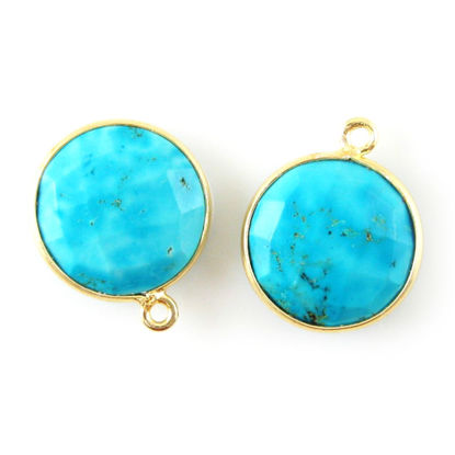 Wholesale 18K Gold Over Sterling Silver Bezel Gemstone Pendant - 14mm Faceted Coin Shape - Turquoise