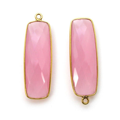 Wholesale Gold plated Sterling Silver Rectangle Bezel Pink Chalcedony Gemstone Pendant, Wholesale Gemstone Pendants for Jewelry Making
