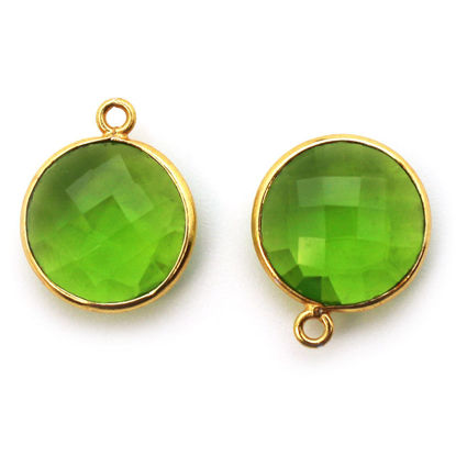 Wholesale Gold plated Sterling Silver Round Bezel Peridot Quartz Gemstone Pendant, Wholesale Gemstone Pendants for Jewelry Making