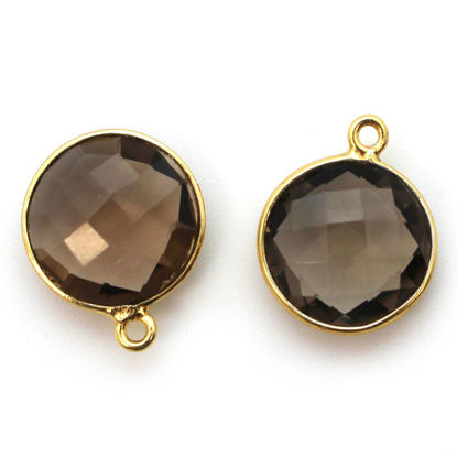 Wholesale Gold plated Sterling Silver Round Bezel Smokey Quartz Gemstone Pendant, Wholesale Gemstone Pendants for Jewelry Making