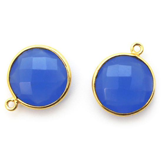 Wholesale Gold plated Sterling Silver Round Bezel Blue Chalcedony Gemstone Pendant, Wholesale Gemstone Pendants for Jewelry Making