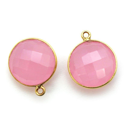 Wholesale Gold plated Sterling Silver Round Bezel Pink Chalcedony Gemstone Pendant, Wholesale Gemstone Pendants for Jewelry Making