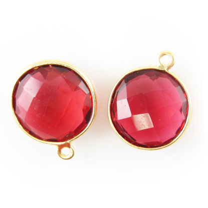 Wholesale Gold plated Sterling Silver Round Bezel Rubylite Quartz Gemstone Pendant, Wholesale Gemstone Pendants for Jewelry Making