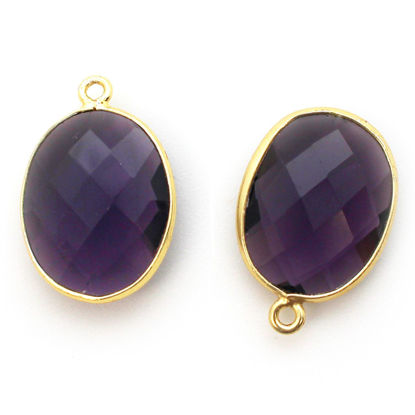 Wholesale Gold plated Sterling Silver Oval Bezel Amethyst Quartz Gemstone Pendant, Wholesale Gemstone Pendants for Jewelry Making