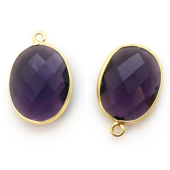 Wholesale Gold plated Sterling Silver Oval Bezel Amethyst Quartz Gemstone Pendant, Wholesale Gemstone Pendants for Jewelry Making
