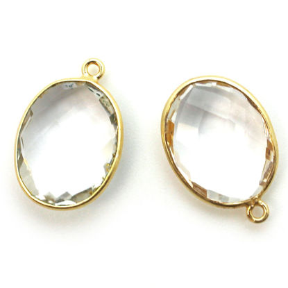 Wholesale Gold plated Sterling Silver Oval Bezel Crystal Quartz Gemstone Pendant, Wholesale Gemstone Pendants for Jewelry Making