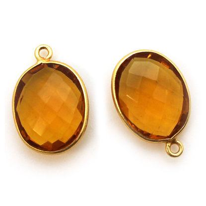 Wholesale Gold plated Sterling Silver Oval Bezel Citrine Quartz Gemstone Pendant, Wholesale Gemstone Pendants for Jewelry Making