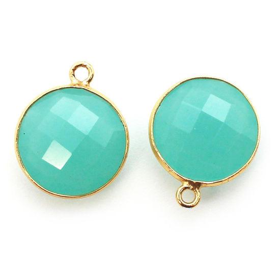 Wholesale Gold plated Sterling Silver Round Bezel Peru Chalcedony Gemstone Pendant, Wholesale Gemstone Pendants for Jewelry Making
