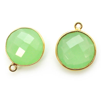 Wholesale Gold plated Sterling Silver Round Bezel Prehnite Chalcedony Gemstone Pendant, Wholesale Gemstone Pendants for Jewelry Making