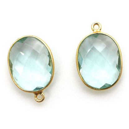 Wholesale Gold plated Sterling Silver Oval Bezel Aqua Quartz Gemstone Pendant, Wholesale Gemstone Pendants for Jewelry Making