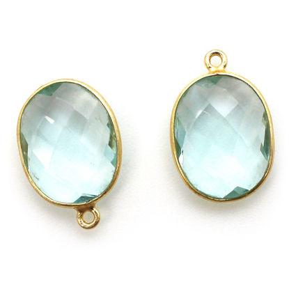 Wholesale Gold plated Sterling Silver Oval Bezel Aqua Quartz Gemstone Pendant, Wholesale Gemstone Pendants for Jewelry Making