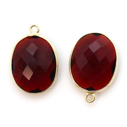Wholesale Gold plated Sterling Silver Oval Bezel Garnet Quartz Gemstone Pendant, Wholesale Gemstone Pendants for Jewelry Making