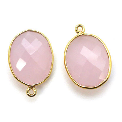 Wholesale Gold plated Sterling Silver Oval Bezel Pink Chalcedony Gemstone Pendant, Wholesale Gemstone Pendants for Jewelry Making