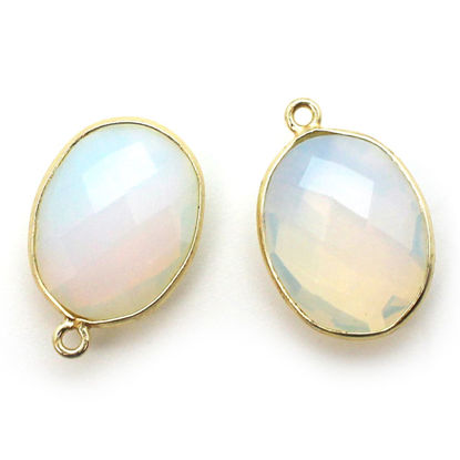 Wholesale Gold plated Sterling Silver Oval Bezel Opalite Quartz Gemstone Pendant, Wholesale Gemstone Pendants for Jewelry Making