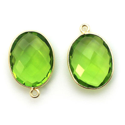 Wholesale Gold plated Sterling Silver Oval Bezel Peridot Quartz Gemstone Pendant, Wholesale Gemstone Pendants for Jewelry Making