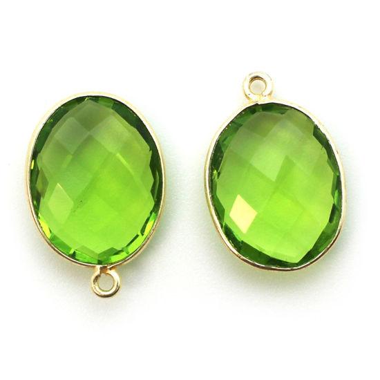 Wholesale Gold plated Sterling Silver Oval Bezel Peridot Quartz Gemstone Pendant, Wholesale Gemstone Pendants for Jewelry Making