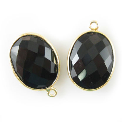 Wholesale Gold plated Sterling Silver Oval Bezel Black Onyx Gemstone Pendant, Wholesale Gemstone Pendants for Jewelry Making