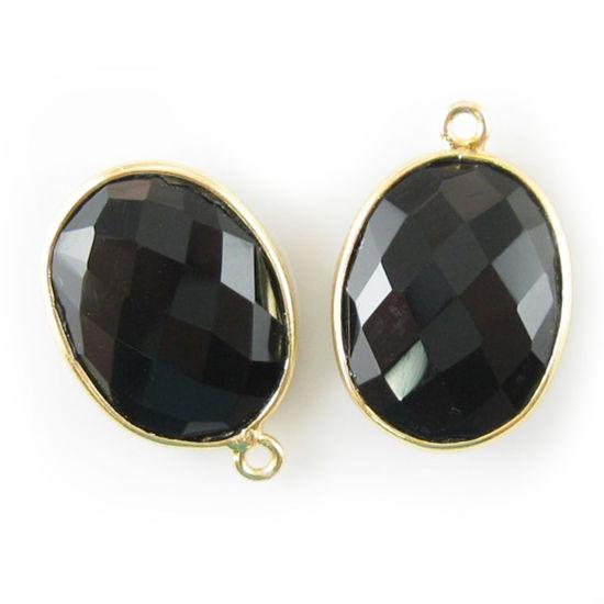 Wholesale Gold plated Sterling Silver Oval Bezel Black Onyx Gemstone Pendant, Wholesale Gemstone Pendants for Jewelry Making