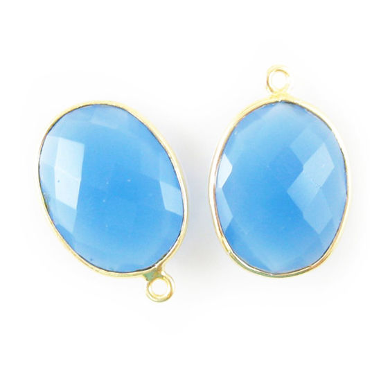 Wholesale Gold plated Sterling Silver Oval Bezel Blue Chalcedony Gemstone Pendant, Wholesale Gemstone Pendants for Jewelry Making