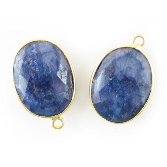 Wholesale Gold plated Sterling Silver Oval Bezel Dyed Blue Sapphire Gemstone Pendant, Wholesale Gemstone Pendants for Jewelry Making