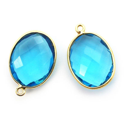 Wholesale Gold plated Sterling Silver Oval Bezel Blue Topaz Quartz Gemstone Pendant, Wholesale Gemstone Pendants for Jewelry Making