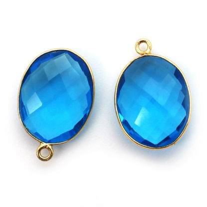Wholesale 18K Gold Over Sterling Silver Bezel Gemstone Pendant - 14x18mm Faceted Oval - Blue Quartz
