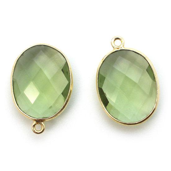 Wholesale Gold plated Sterling Silver Oval Bezel Green Amethyst Quartz Gemstone Pendant, Wholesale Gemstone Pendants for Jewelry Making