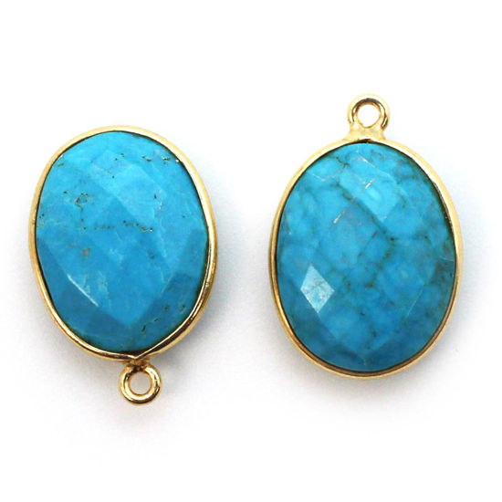 Wholesale Gold plated Sterling Silver Oval Bezel Turquoise Gemstone Pendant, Wholesale Gemstone Pendants for Jewelry Making