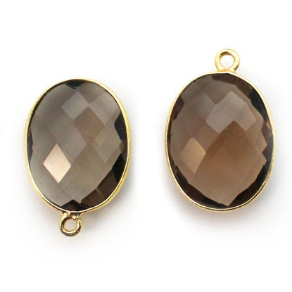 Wholesale Gold plated Sterling Silver Oval Bezel Smokey Quartz Gemstone Pendant, Wholesale Gemstone Pendants for Jewelry Making