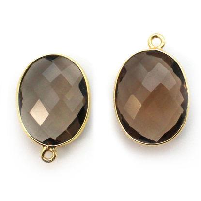 Wholesale Gold plated Sterling Silver Oval Bezel Smokey Quartz Gemstone Pendant, Wholesale Gemstone Pendants for Jewelry Making