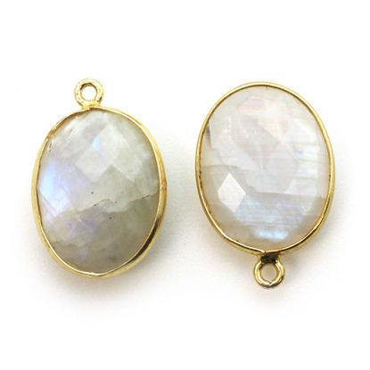 Wholesale Gold plated Sterling Silver Oval Bezel Moonstone Gemstone Pendant, Wholesale Gemstone Pendants for Jewelry Making