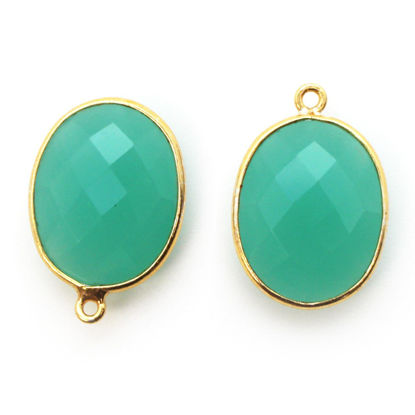 Wholesale 18K Gold Over Sterling Silver Bezel Gemstone Pendant - 14x18mm Faceted Oval - Peru Chalcedony