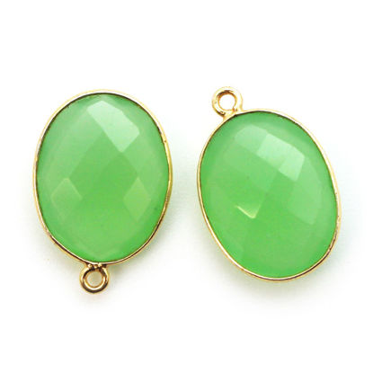 Wholesale Gold plated Sterling Silver Oval Bezel Prehnite Chalcedony Gemstone Pendant, Wholesale Gemstone Pendants for Jewelry Making