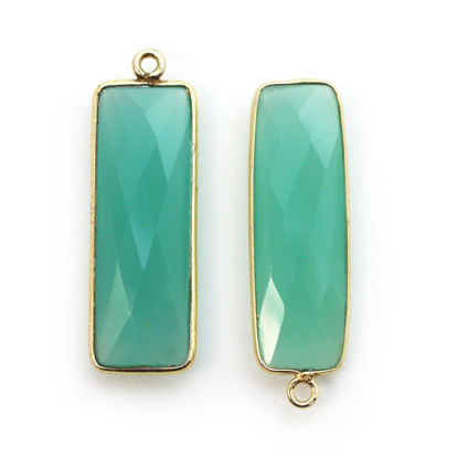 Wholesale Gold plated Sterling Silver Rectangle Bezel Peru Chalcedony Gemstone Pendant, Wholesale Gemstone Pendants for Jewelry Making