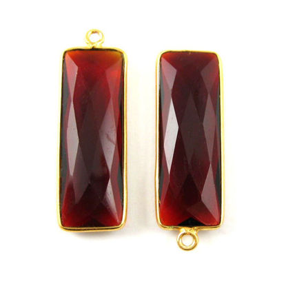 Wholesale Gold plated Sterling Silver Rectangle Bezel Garnet Quartz Gemstone Pendant, Wholesale Gemstone Pendants for Jewelry Making
