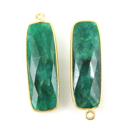 Wholesale Gold plated Sterling Silver Rectangle Bezel Emerald Dyed Gemstone Pendant, Wholesale Gemstone Pendants for Jewelry Making