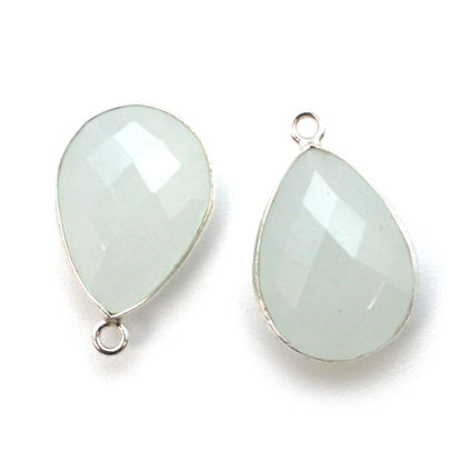 Wholesale Sterling Silver Teardrop Bezel Aqua Chalcedony Gemstone Pendant, Wholesale Gemstone Pendants for Jewelry Making