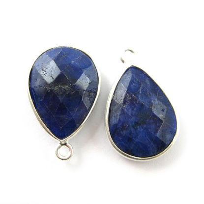 Wholesale Sterling Silver Teardrop Bezel Blue Sapphire Dyed Gemstone Pendant, Wholesale Gemstone Pendants for Jewelry Making