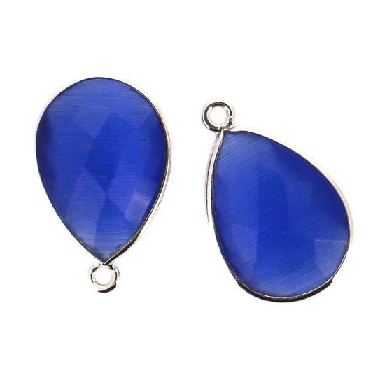 Wholesale Sterling Silver Teardrop Bezel Green Monalisa Gemstone Pendant, Wholesale Gemstone Pendants for Jewelry Making