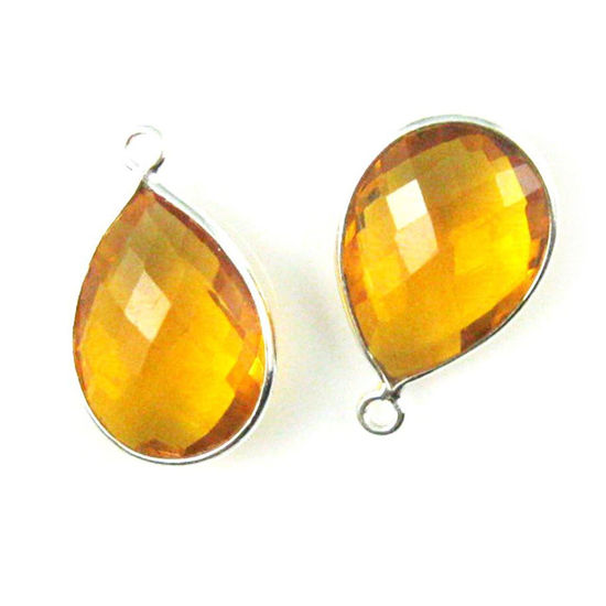 Wholesale Sterling Silver Teardrop Bezel Citrine Quartz Gemstone Pendant, Wholesale Gemstone Pendants for Jewelry Making