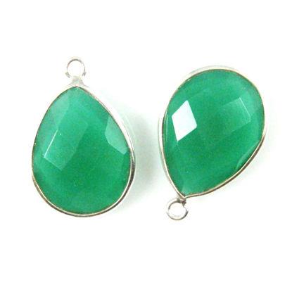 Wholesale Sterling Silver Teardrop Bezel Green Onyx Gemstone Pendant, Wholesale Gemstone Pendants for Jewelry Making