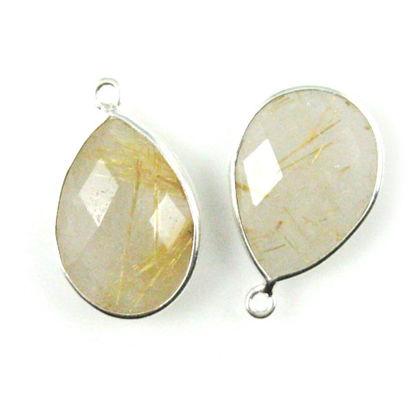 Wholesale Sterling Silver Teardrop Bezel Gold Rutilated Quartz Gemstone Pendant, Wholesale Gemstone Pendants for Jewelry Making